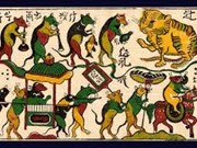 Exhiben pinturas folclóricas vietnamitas con motivo del Tet