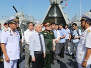 Máximo dirigente partidista de Vietnam visita Zona 4 de la Fuerza Naval