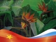 Exhibición de pinturas en seda de Vietnam en Rusia