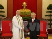 Máximo dirigente partidista de Vietnam recibe al premier indio