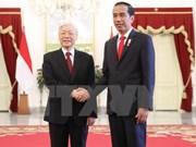 Joko Widodo ofrece una solemne recepción al máximo dirigente partidista de Vietnam