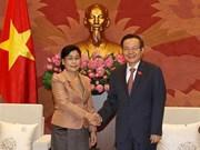 Vicepresidente del Parlamento de Vietnam recibe a jefa de Auditoría Estatal de Laos