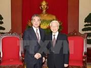 Máximo dirigente partidista de Vietnam recibe a canciller chino