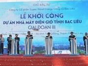 Inician tercera fase del proyecto de energía eólica en provincia vietnamita