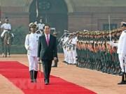 Efectúan en la India solemne acto de recibimiento al presidente de Vietnam