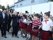 Nguyen Phu Trong visita escuela cubana que lleva nombre de heroína vietnamita