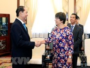 Presidente de Vietnam recibe a saliente embajadora belga