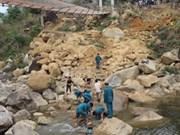 Lai Chau construye paso provisional tras colapso del puente