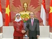 Dirigentes vietnamitas reciben a presidenta parlamentaria de Singapur