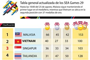 Tabla de clasificación de SEA Games 29