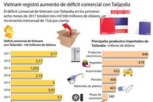 [Infografía] Vietnam registró aumento de déficit comercial con Tailandia