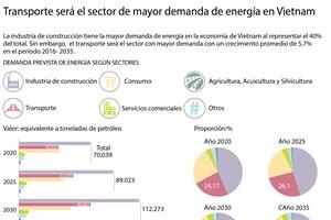 Transporte será el sector de mayor demanda energética en Vietnam