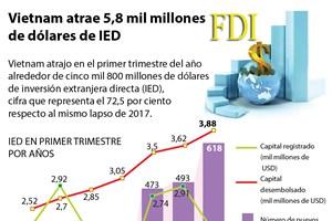 [Infografía] Vietnam atrae 5,8 mil millones de dólares de IED